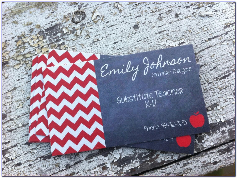 Substitute Teacher Business Cards Samples