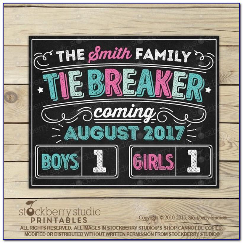 Tie Breaker Pregnancy Announcement Template