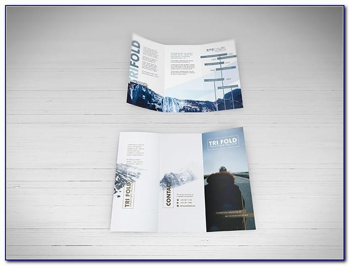 Tri Fold Brochure Mockup Stock Photo