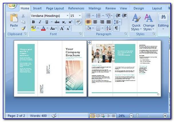 Tri Fold Brochure Using Microsoft Word