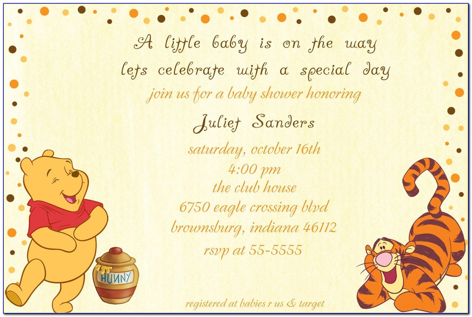 Winnie The Pooh Baby Announcements