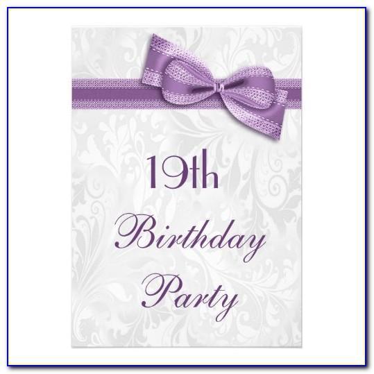 19th Birthday Party Invitation Cards
