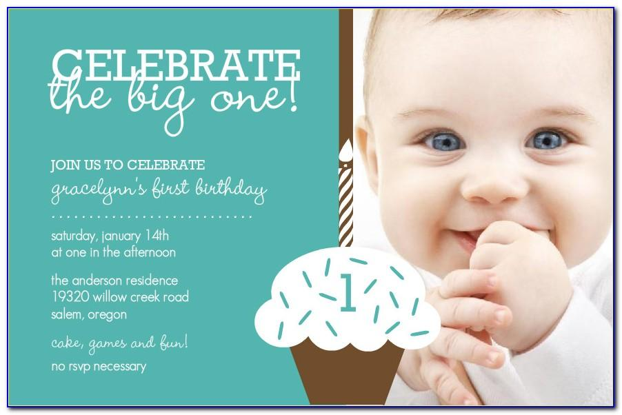 1st Birthday Invitation Card Baby Boy