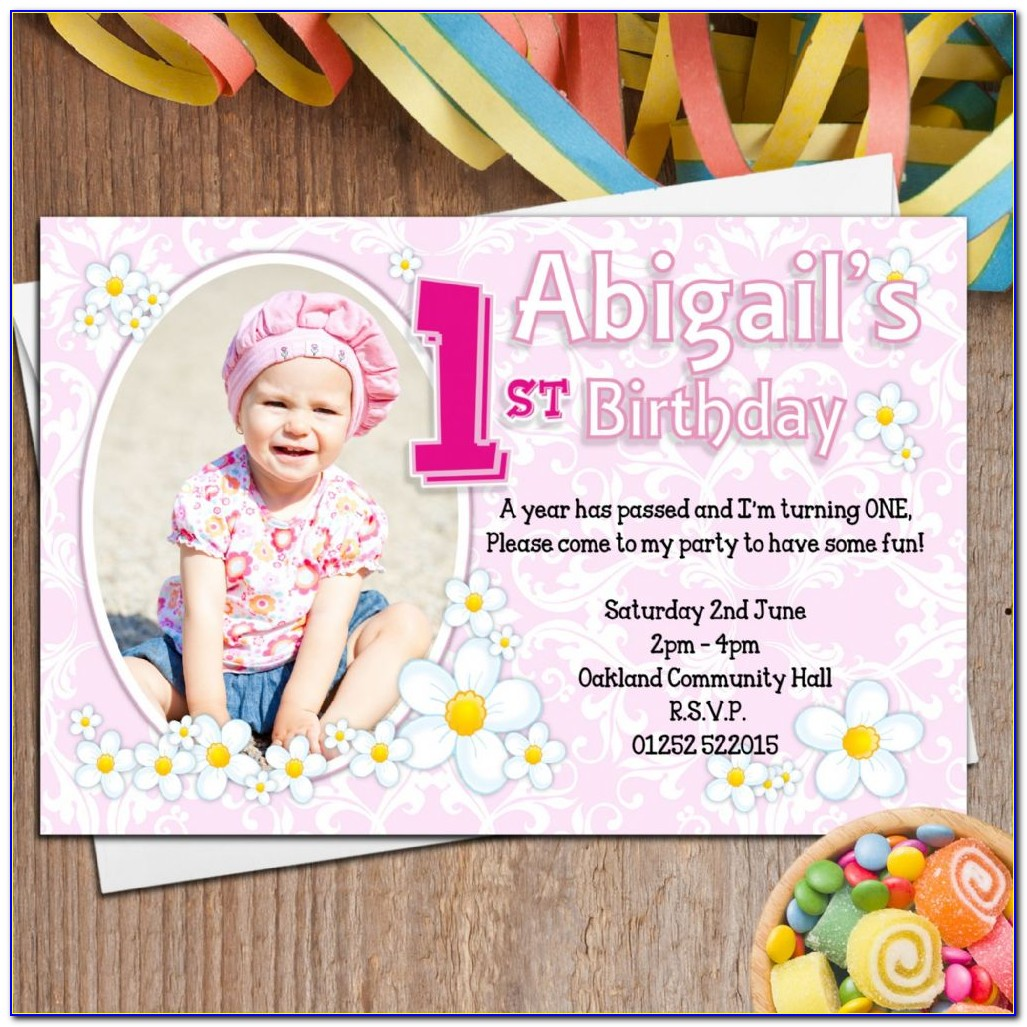 1st Birthday Invitation Card For Baby Girl With Photo