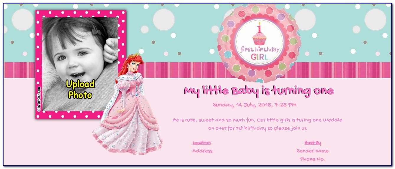 1st Birthday Invitation Card For Baby Girl Wording