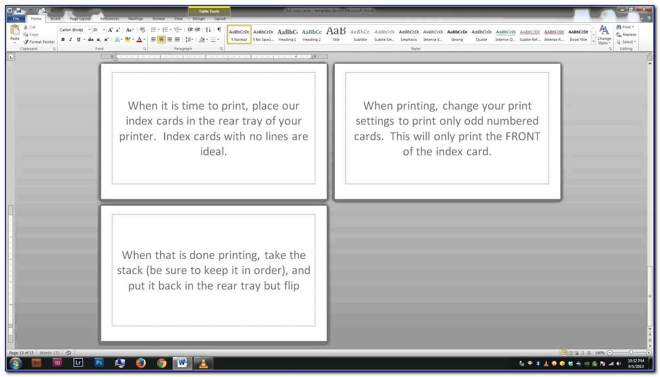 3x5 Index Card Template Publisher