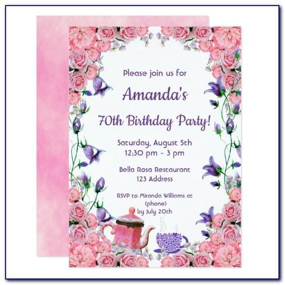 70th Birthday Invitation Cards Designs