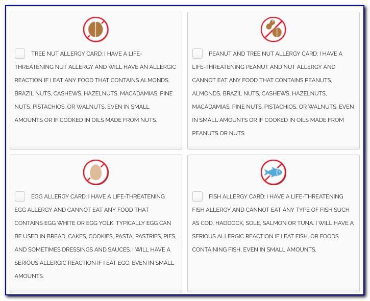 Allergy Translation Cards Free