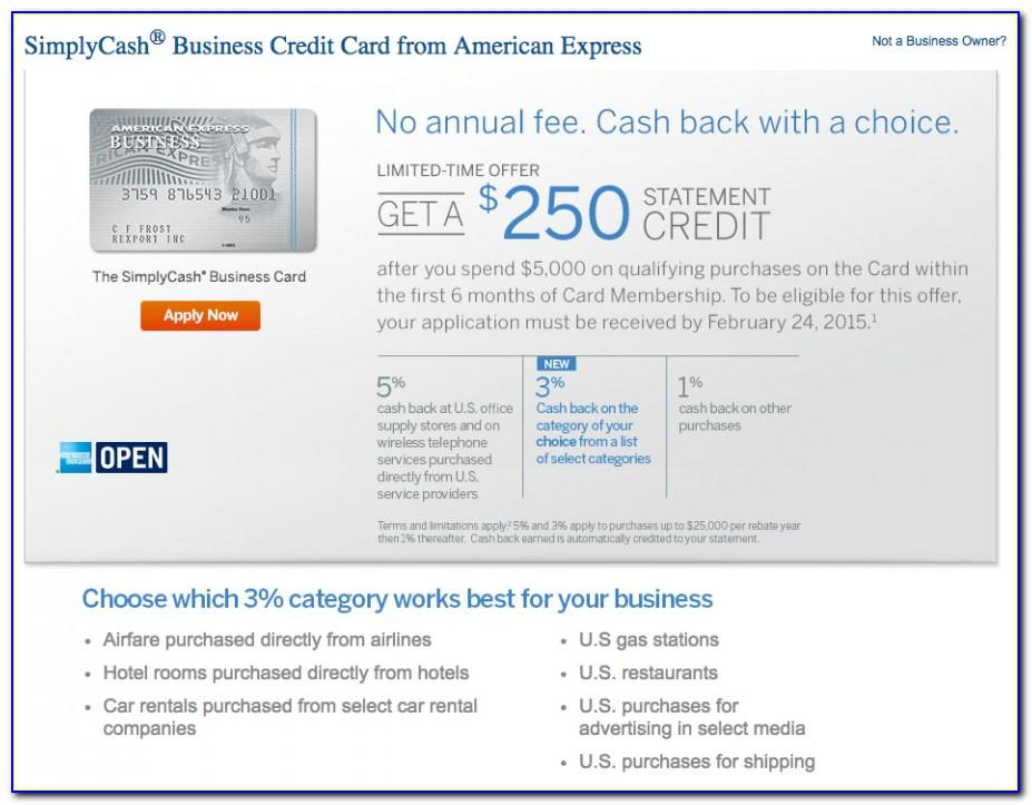 American Express Business Credit Card No Annual Fee