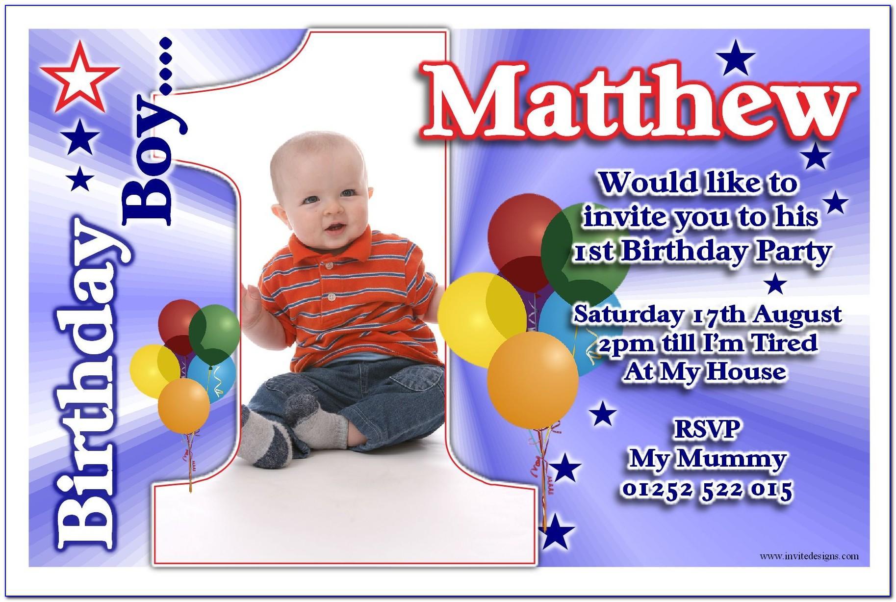 Baby Boy Birthday Invitation Card Sample