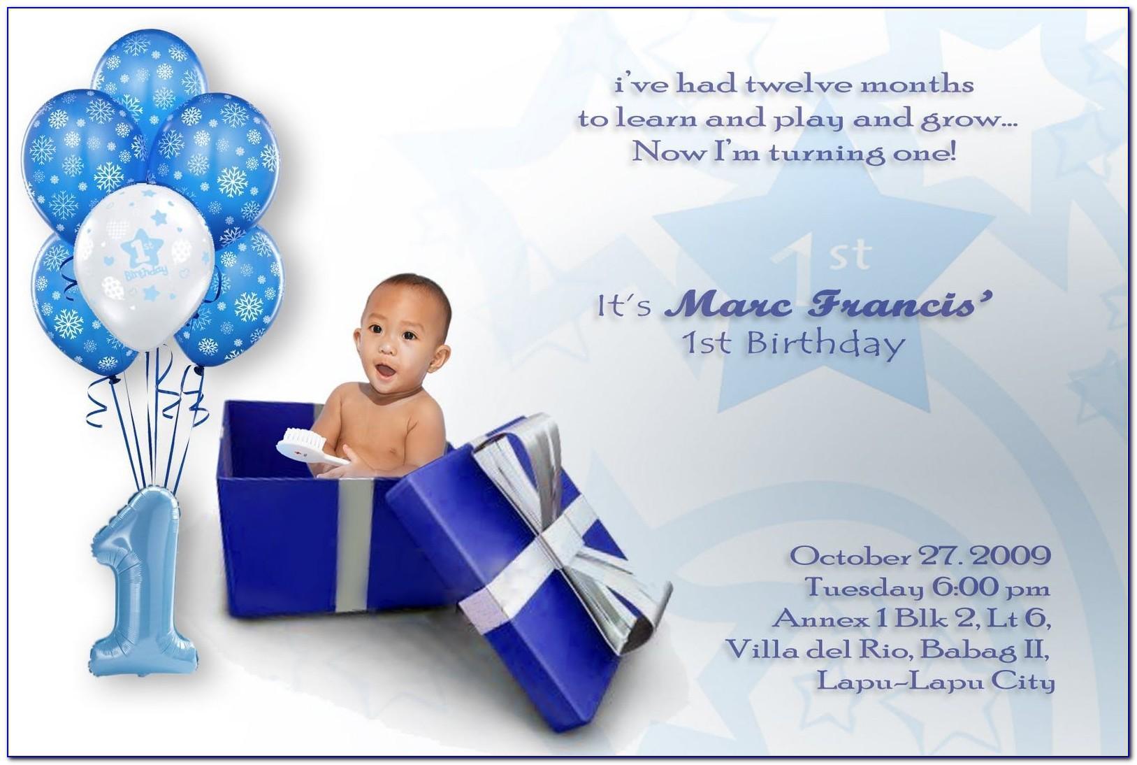 Baby Boy First Birthday Invitation Card Online Free