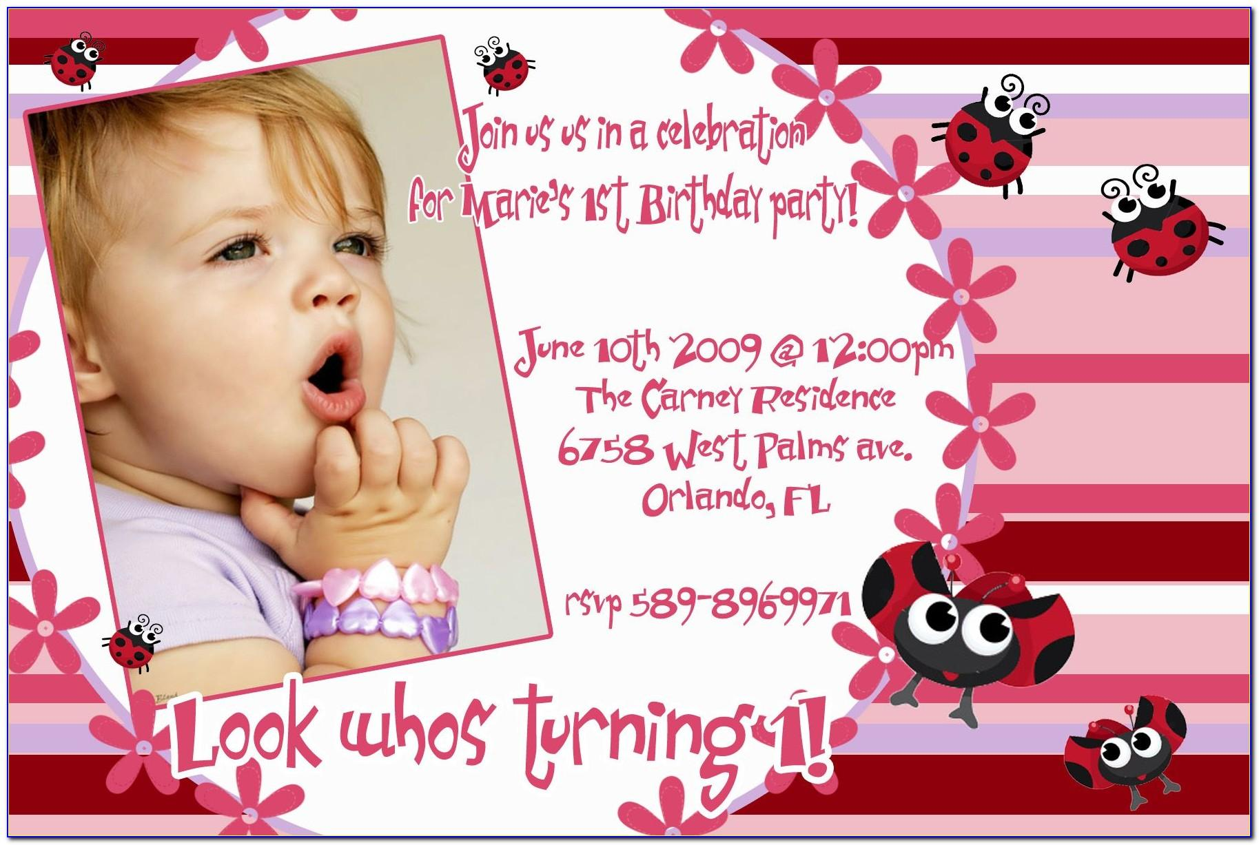 Baby Girl Birthday Invitation Card Template