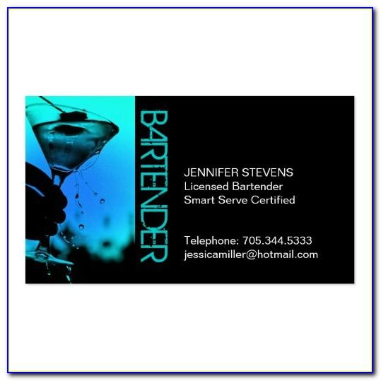 Bartending Business Cards Examples