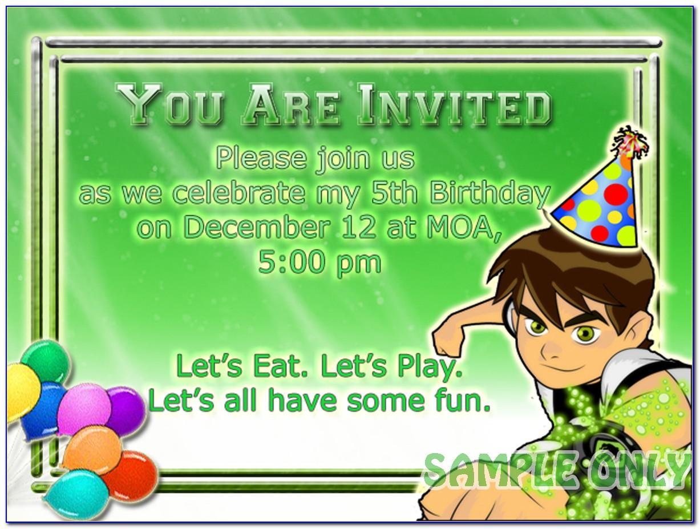 Ben 10 7th Birthday Invitation Cards
