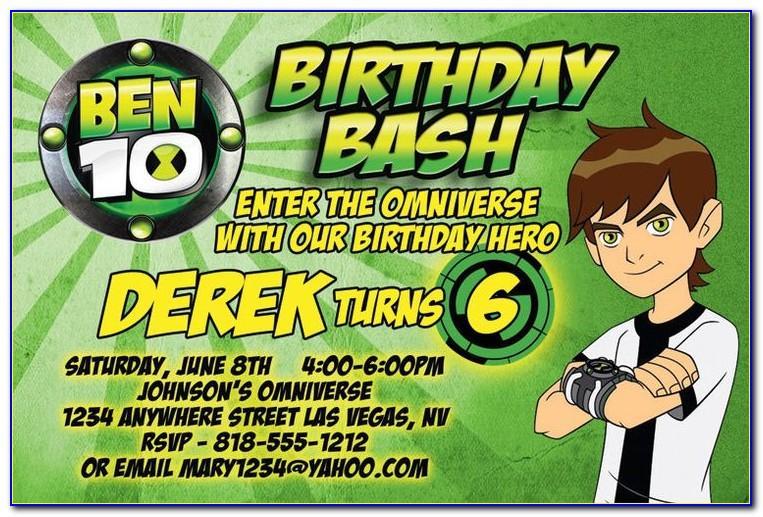 Ben 10 Birthday Invitation Card