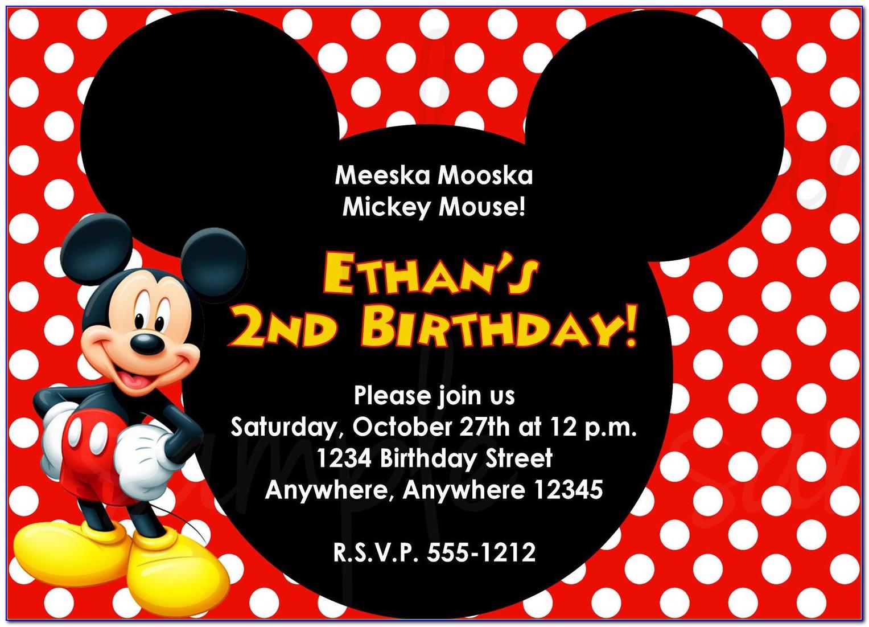 Birthday Invitation Card Design Mickey Mouse