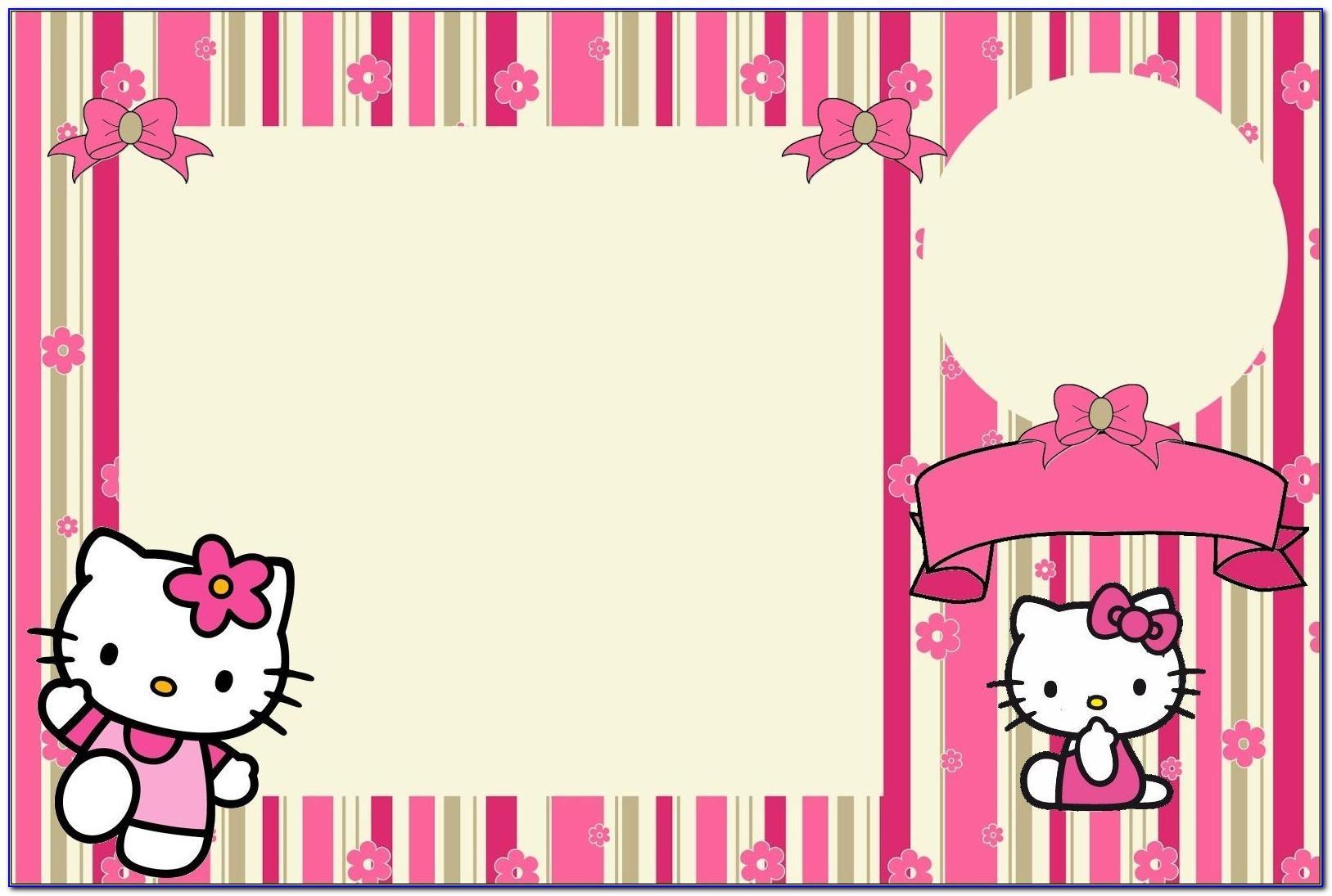 Birthday Invitation Card Layout Hello Kitty