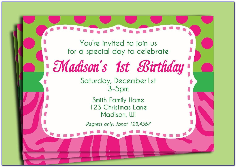 Birthday Invitation Card Sample Wording