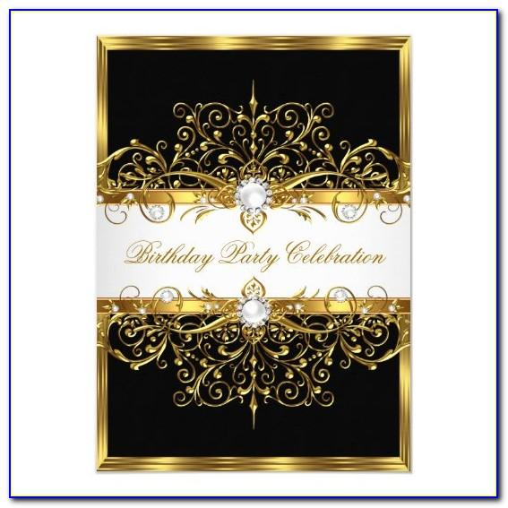 Black And Gold 21st Birthday Invitation Cards