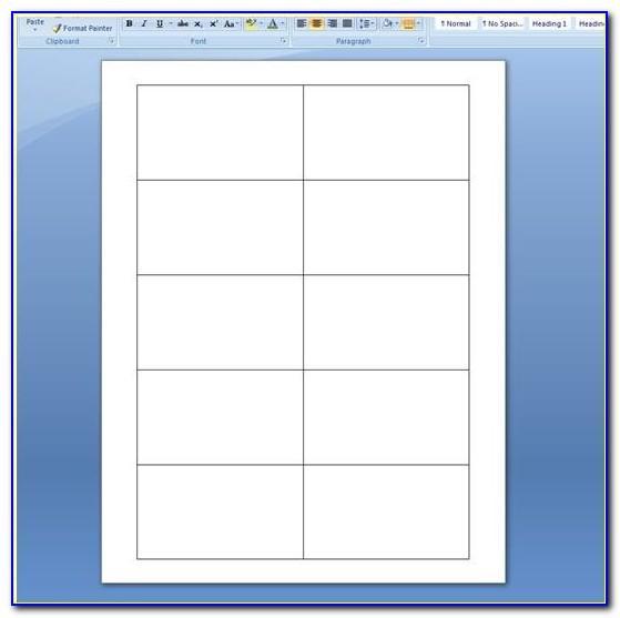 Blank Card Template Microsoft Word