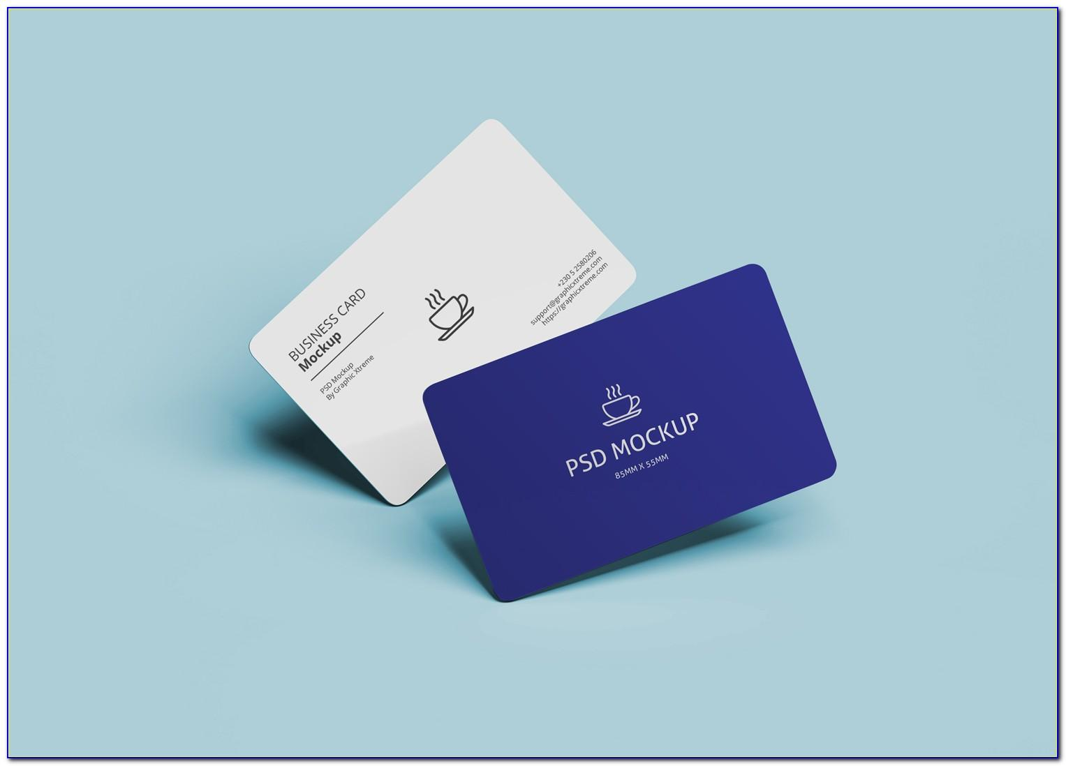 Business Card Mockup Rounded Corners Free