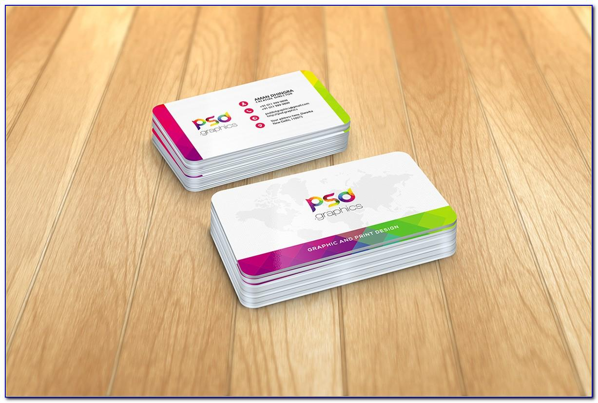 Business Card Mockup Rounded Corners Psd