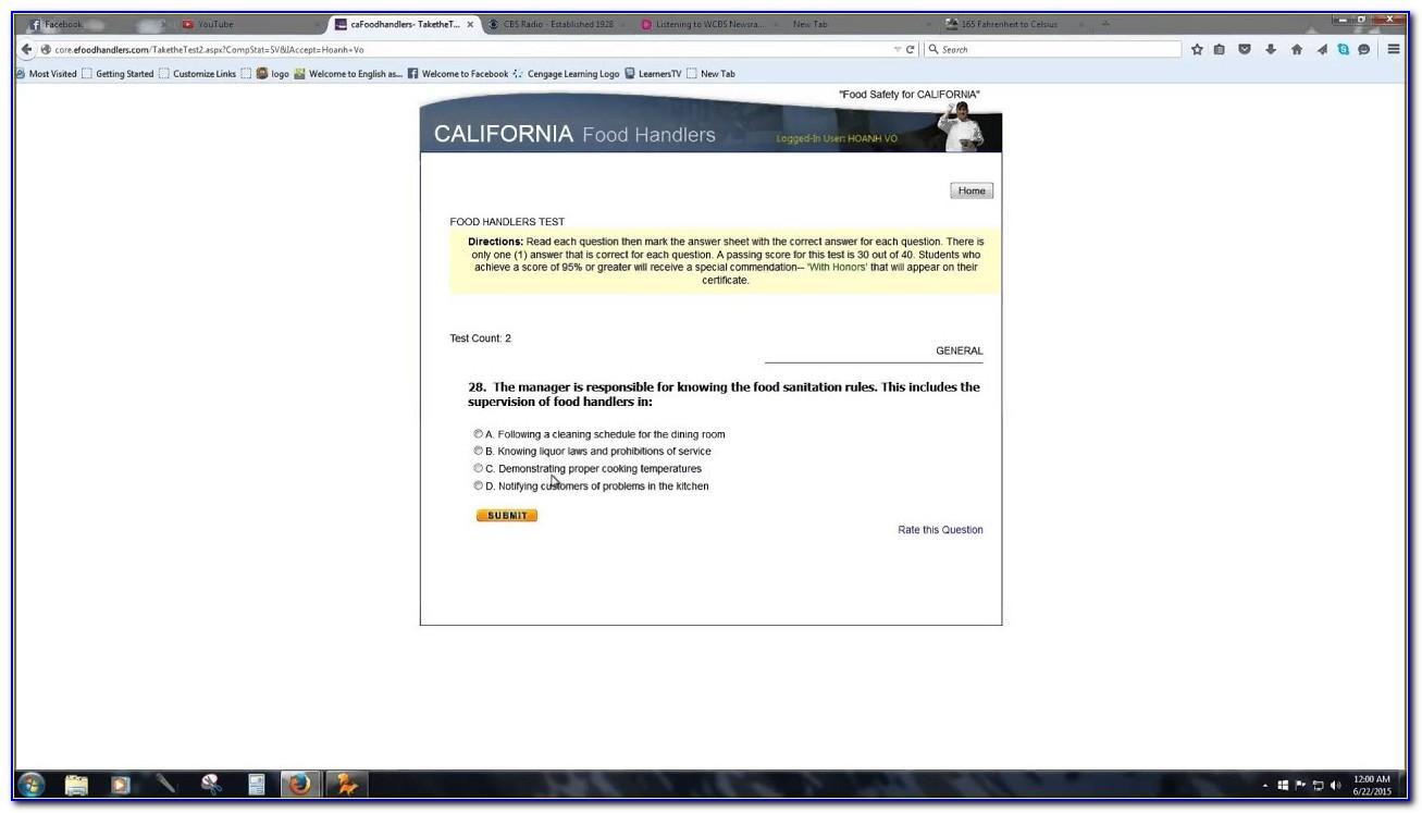 California Food Handlers Card Free Test