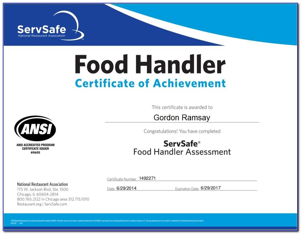 California Food Handlers Card Test Answers
