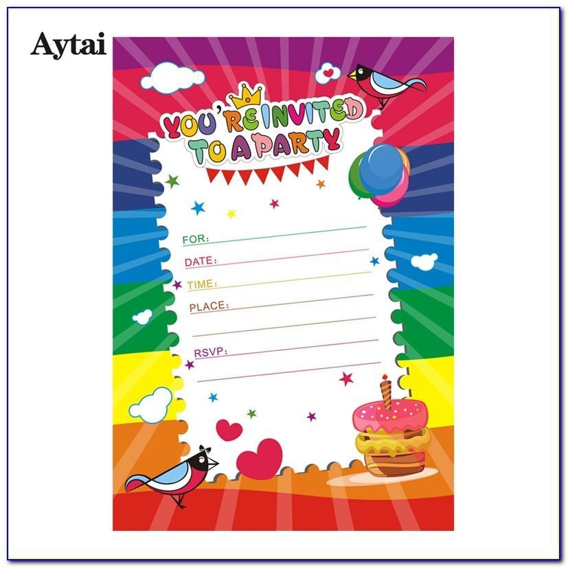 Cartoon Birthday Card Invitation