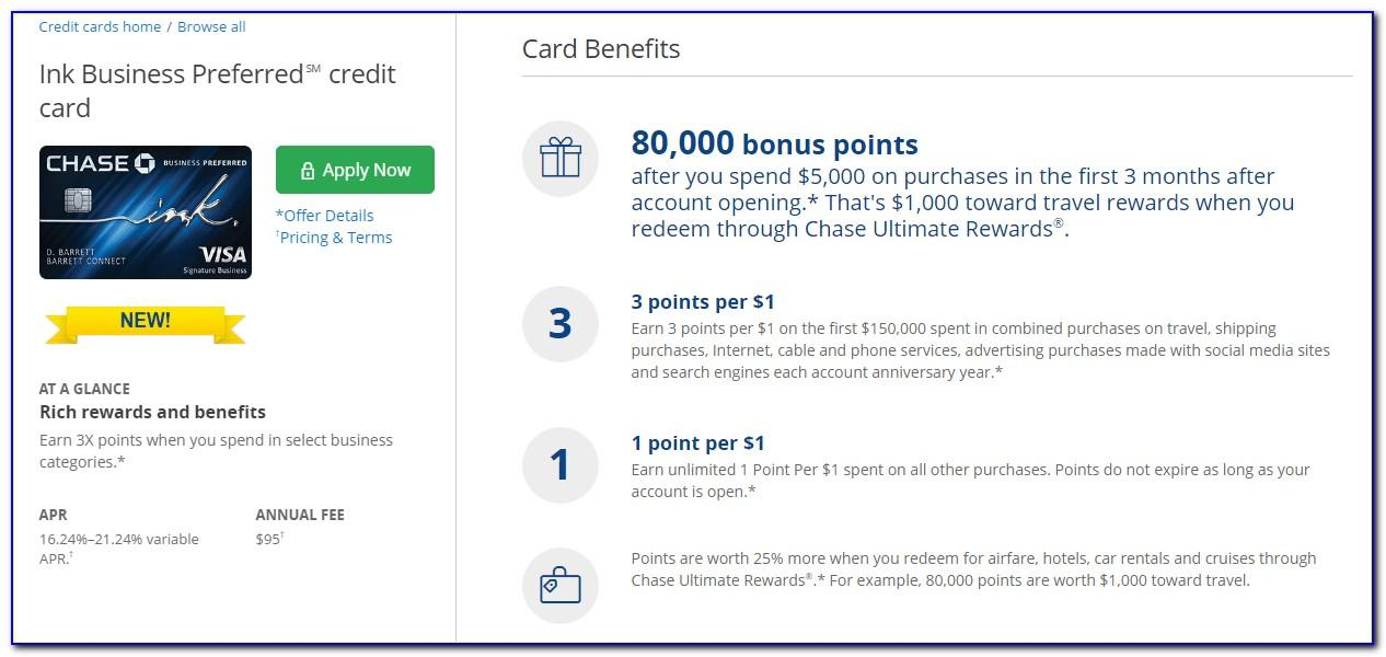 Chase Ink Business Preferred Card Credit Score