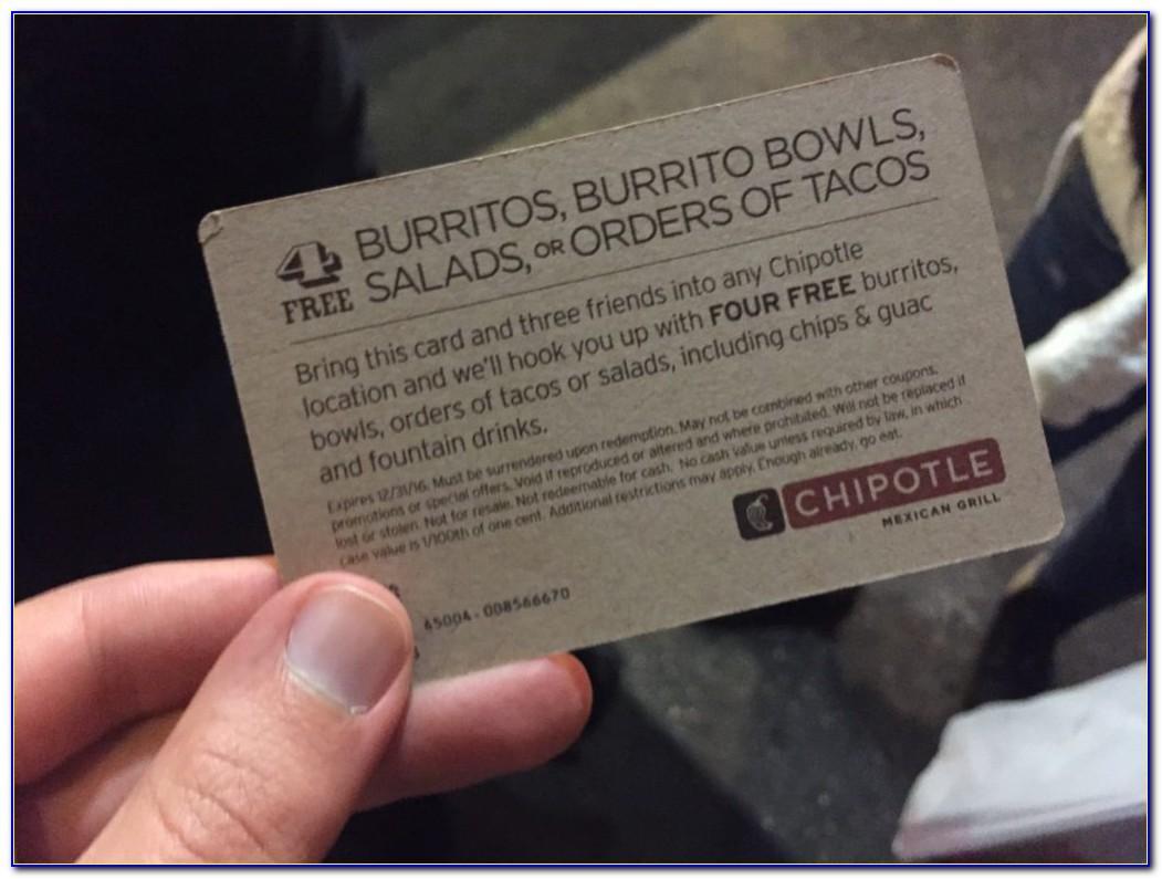 Chipotle Free Burrito Card For Life