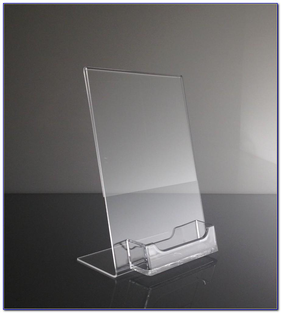Clear Acrylic 5x7 Sign Holder With Business Card Display