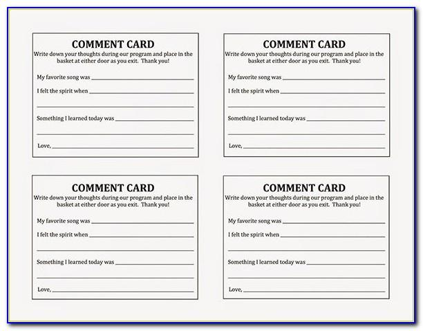 Comment Card Template Free