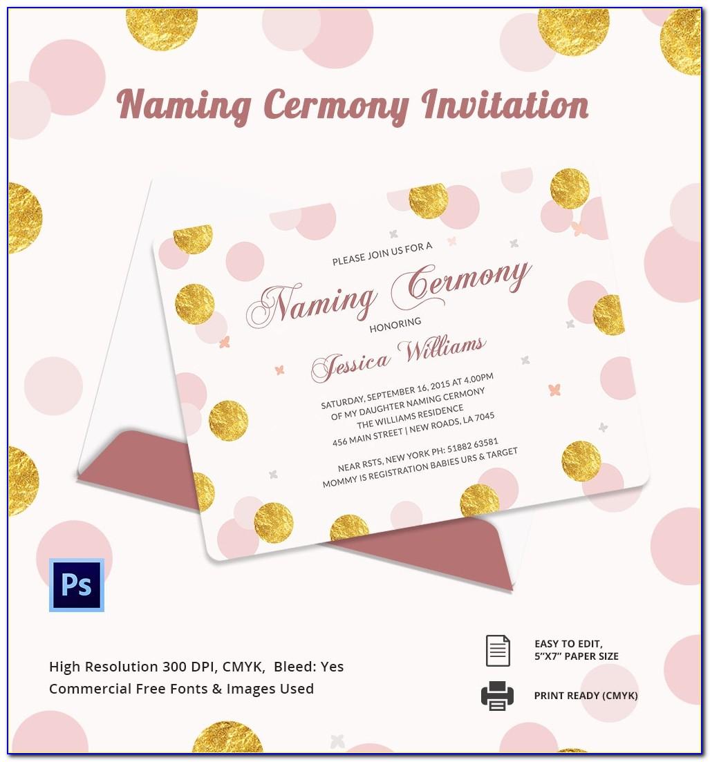 Cradle Ceremony Invitation Card Template Free Download