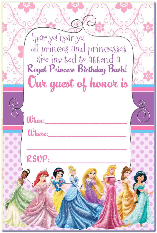 Disney Princess Birthday Invitation Card