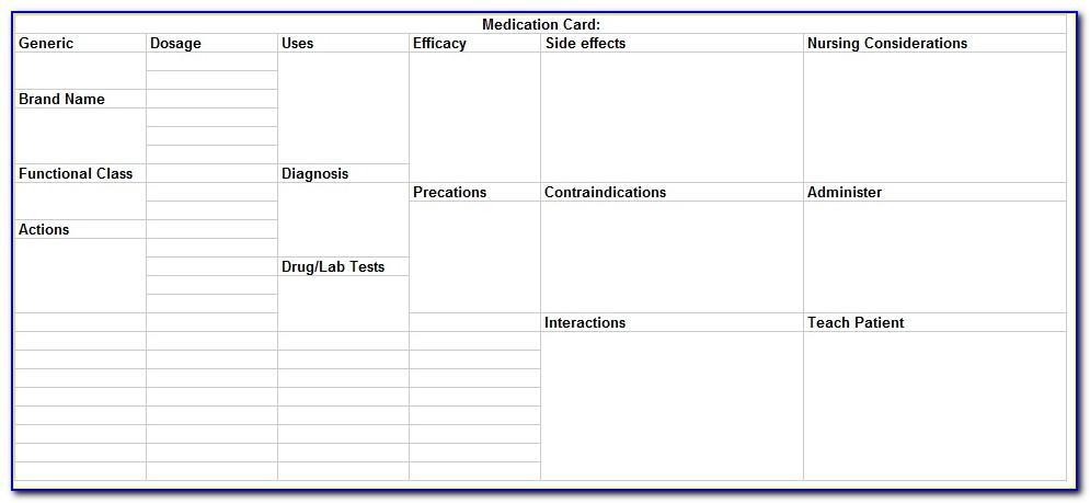 Drug Card Template For Nursing Students