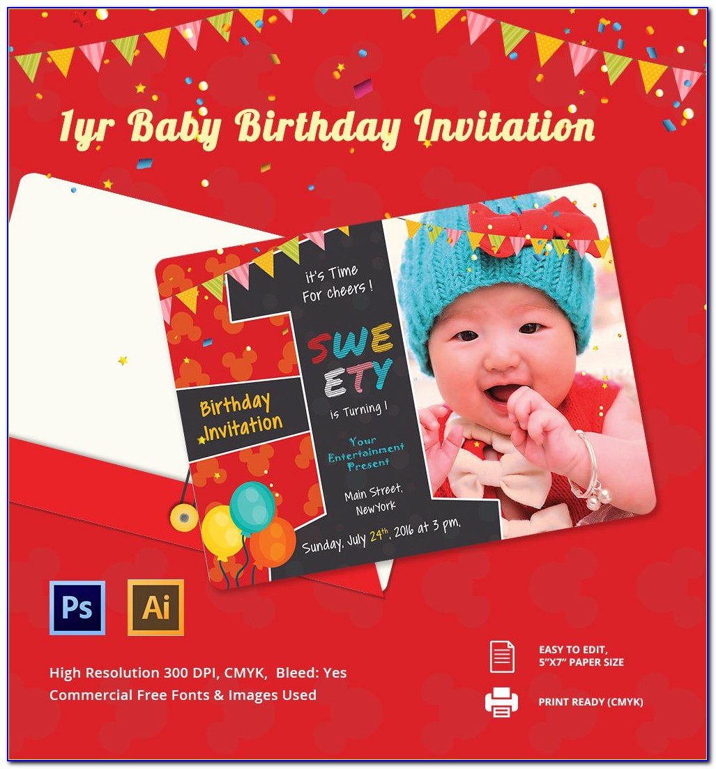 Editable 1st Birthday Invitation Card Free Download With Photo