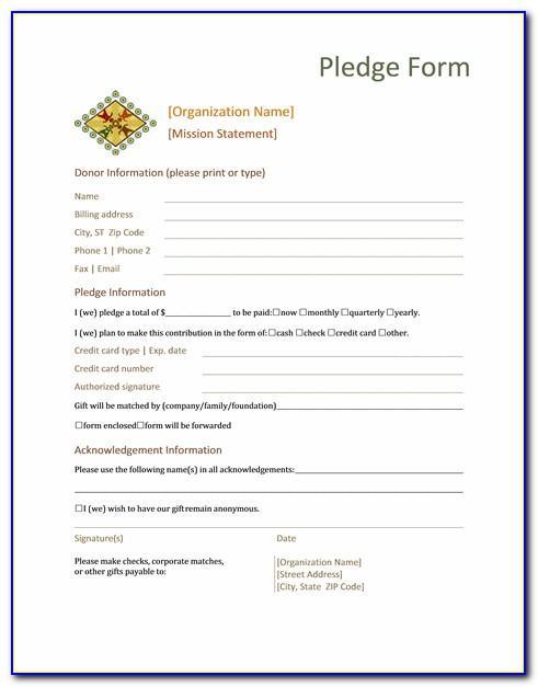 Editable Pledge Card Template