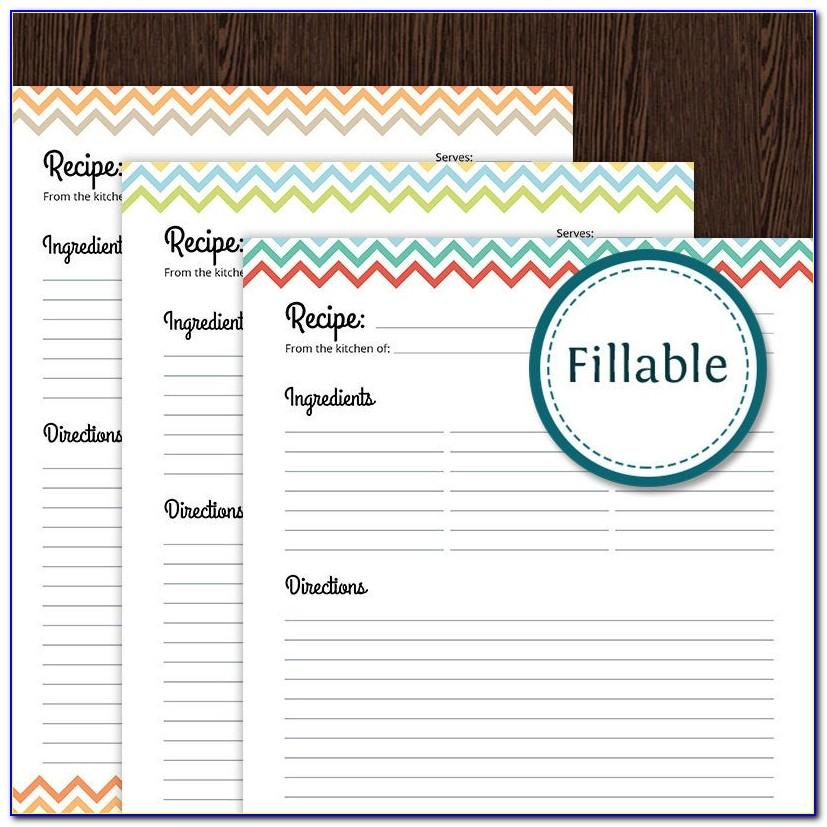 Editable Recipe Card Template For Word