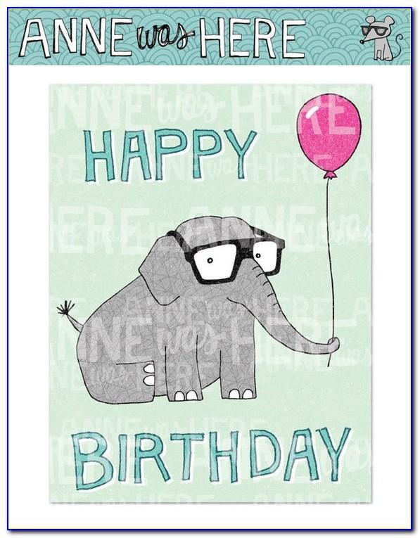 Elephant Birthday Card Printable