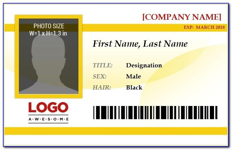 Employee Id Card Template Free Download Word