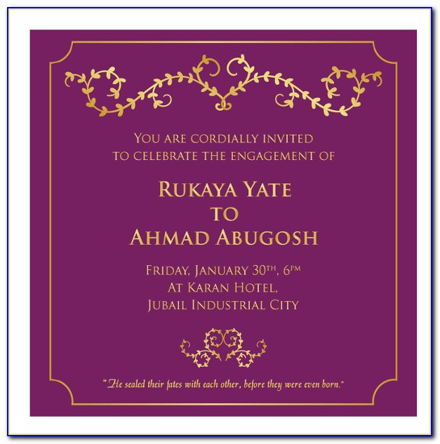 Engagement Invitation Card Template Online Free