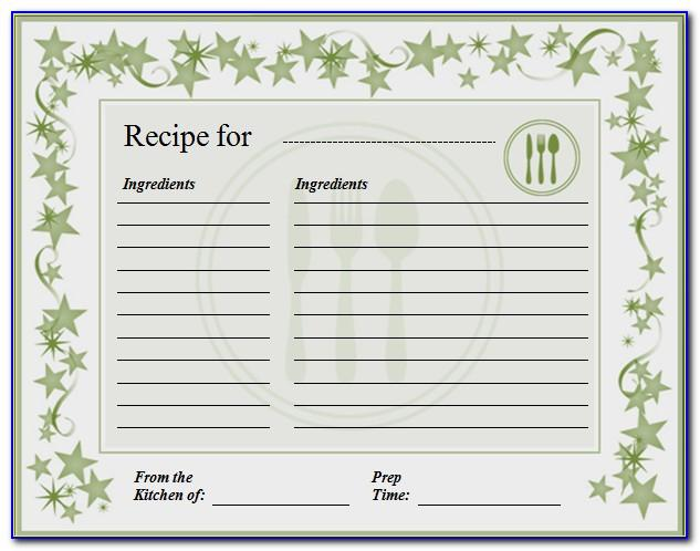 Fillable Recipe Card Template For Word