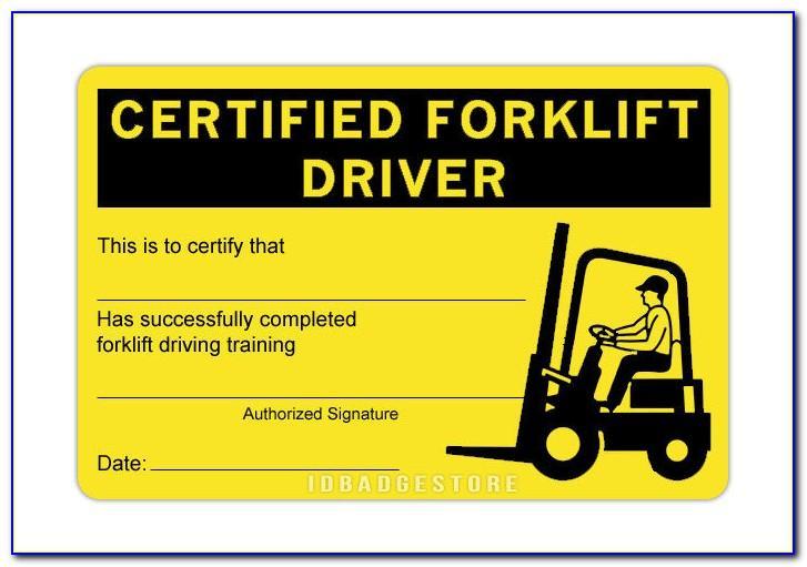 Forklift Certification Cards Free