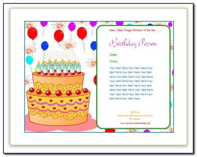 Free Birthday Invitation Card Templates For Word