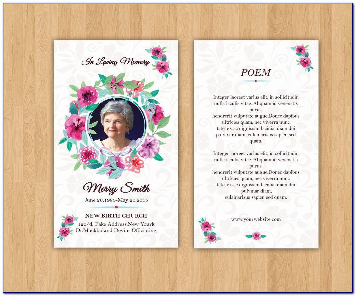 Free Editable Funeral Prayer Card Template