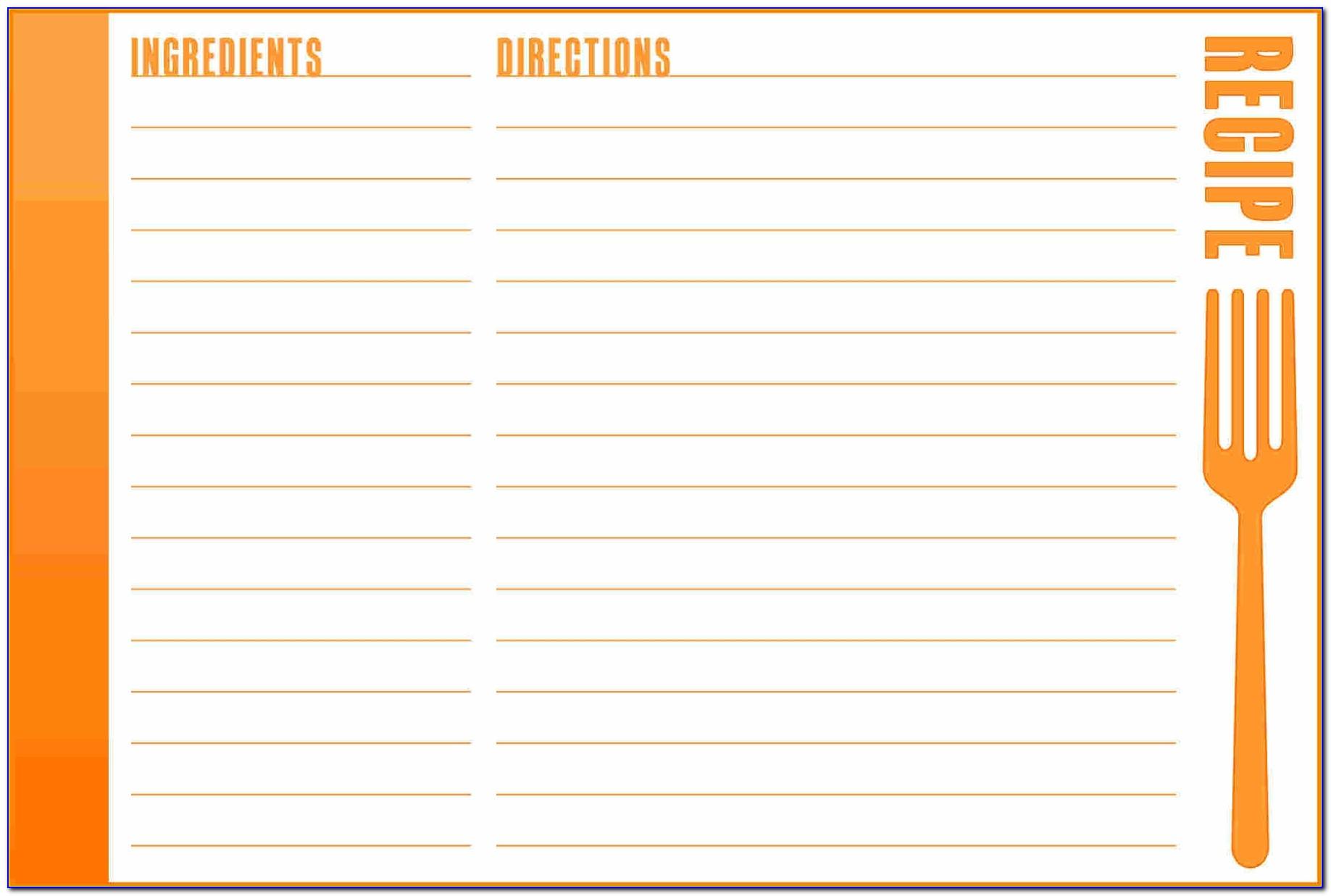 Free Editable Recipe Card Templates For Microsoft Word 4x6