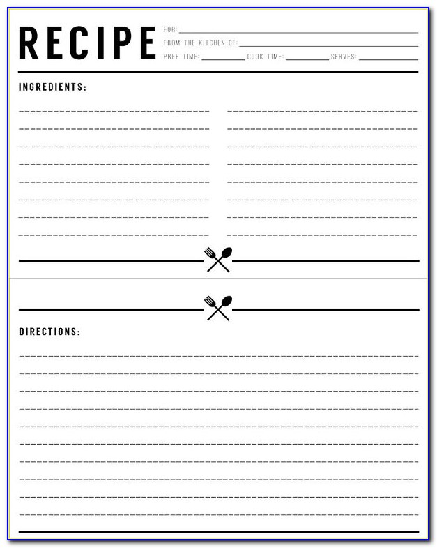 Free Editable Recipe Card Templates For Pages