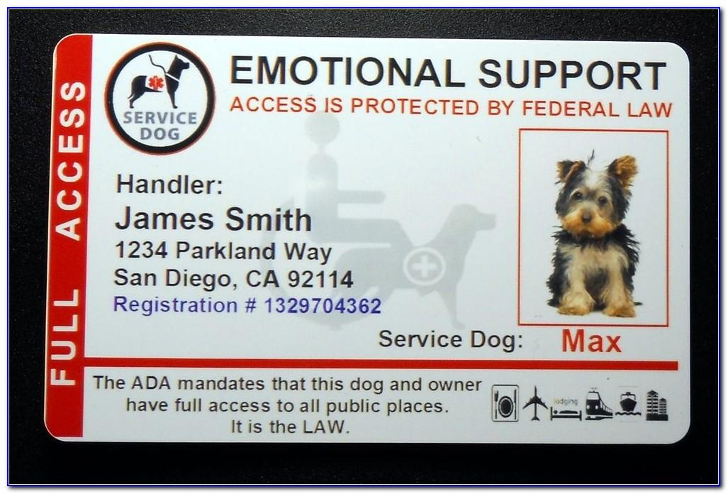 Free Emotional Support Animal Id Card