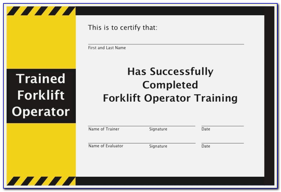 Free Forklift Certification Card Template Word
